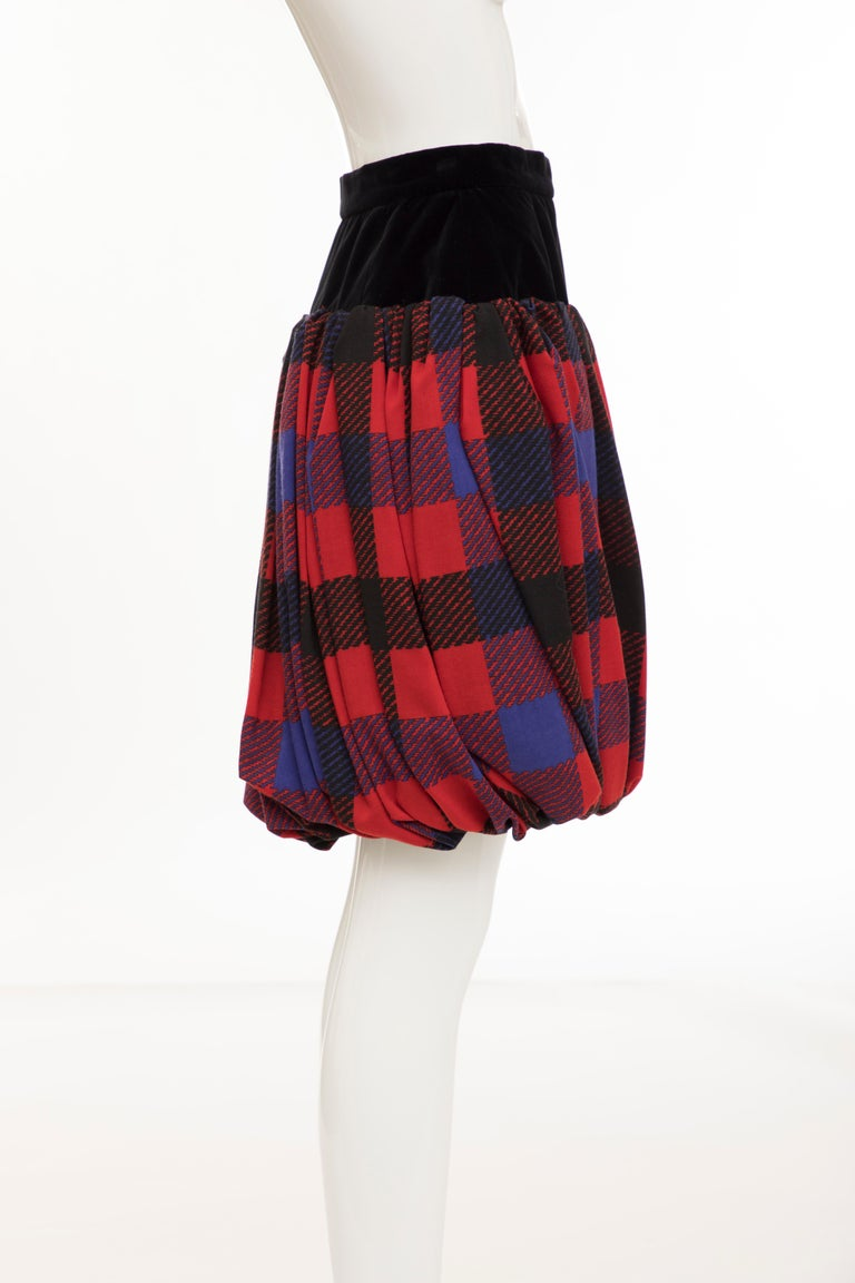 Yves Saint Laurent Rive Gauche Silk Wool Challis Balloon Skirt, Circa 1980s For Sale 1