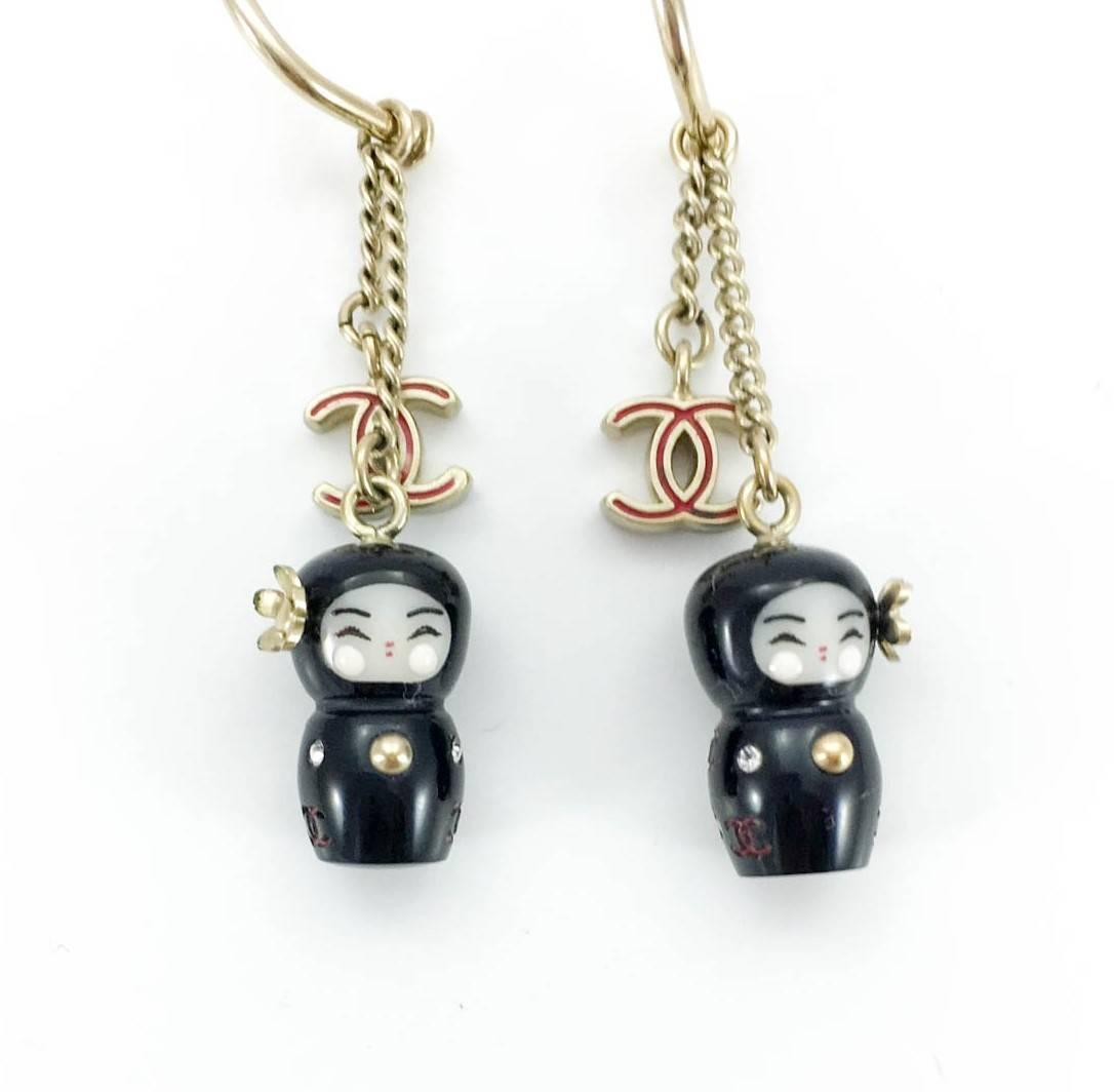 chanel chinese doll and logo earrings paris shanghai