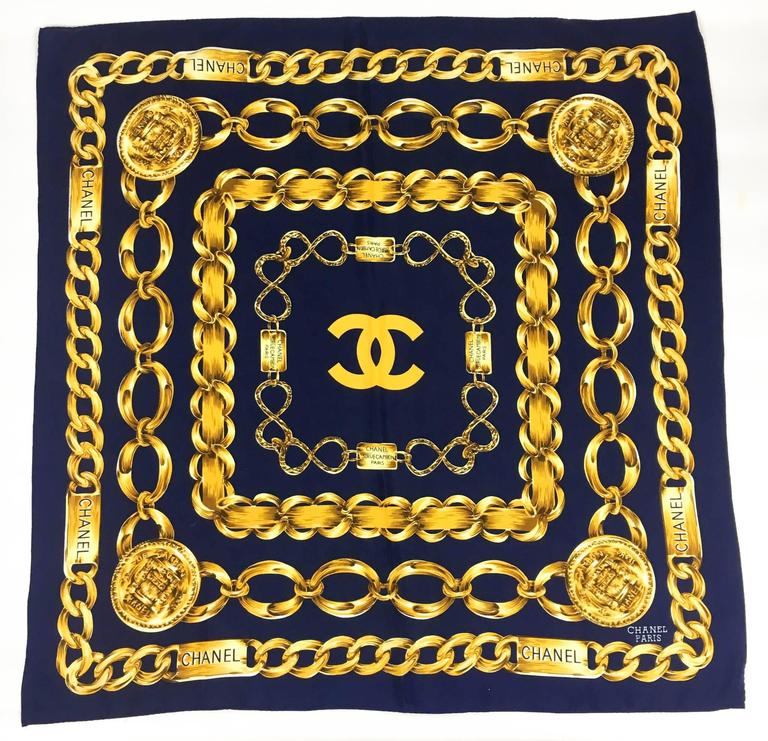 26549846349 Chanel  Chains  Navy Blue and Golden Scarf - 1990s at 1stdibs
