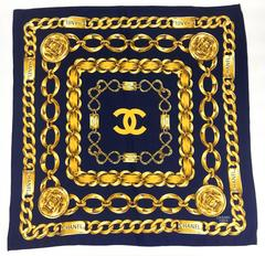 Chanel 'Chains' Navy Blue and Golden Scarf - 1990s