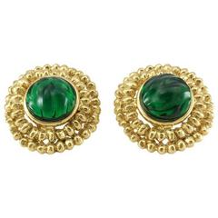 Yves Saint Laurent Green Gripoix Gold-Plated Earrings, by Goossens - 1980s