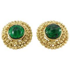 Yves Saint Laurent Green Gripoix Gold-Plated Earrings, by Goossens - 1980s