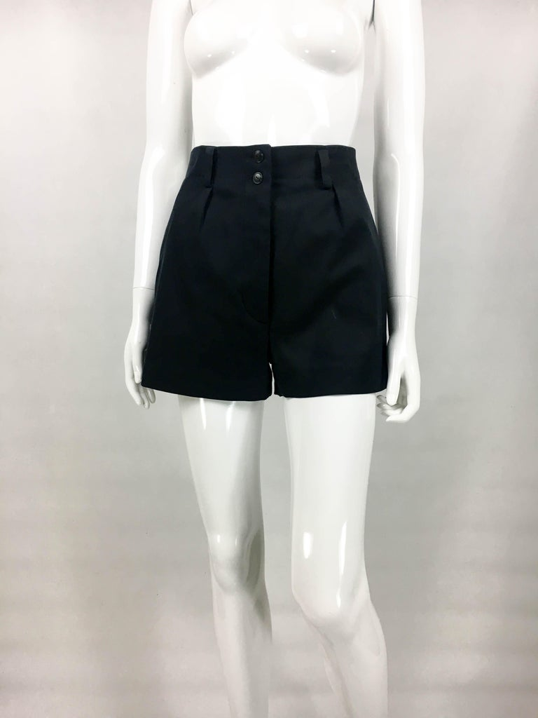 1990's Azzedine Alaia Black Tailored Shorts In Excellent Condition For Sale In London, Chelsea