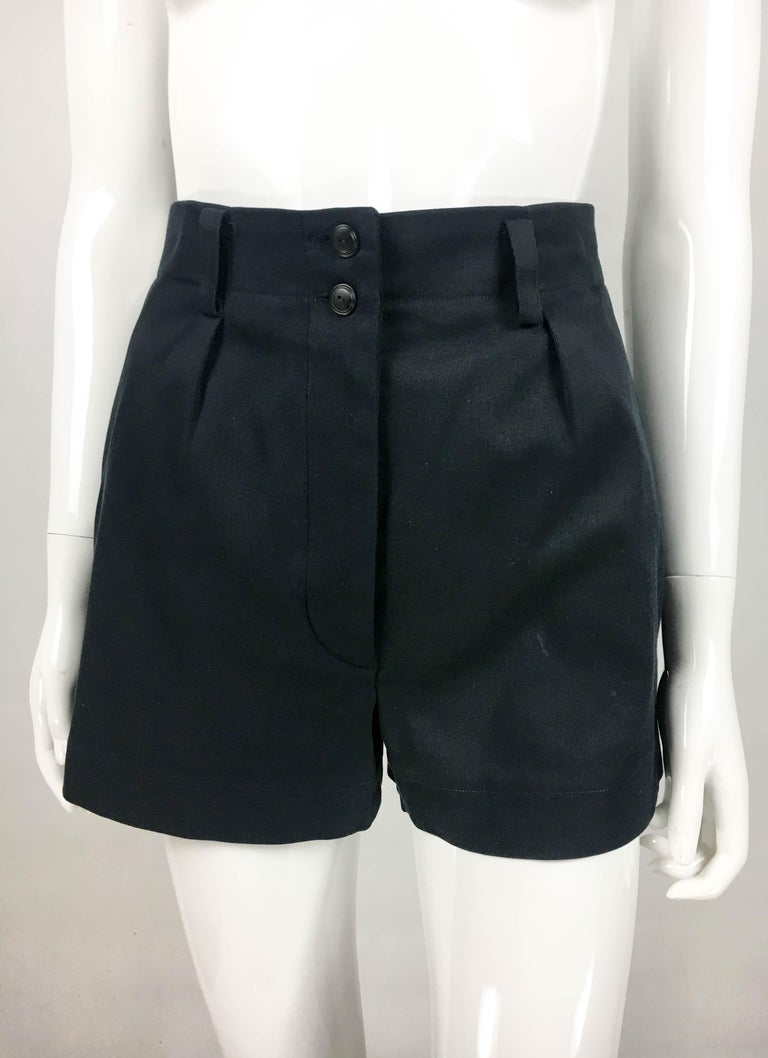 1990's Azzedine Alaia Black Tailored Shorts For Sale 1