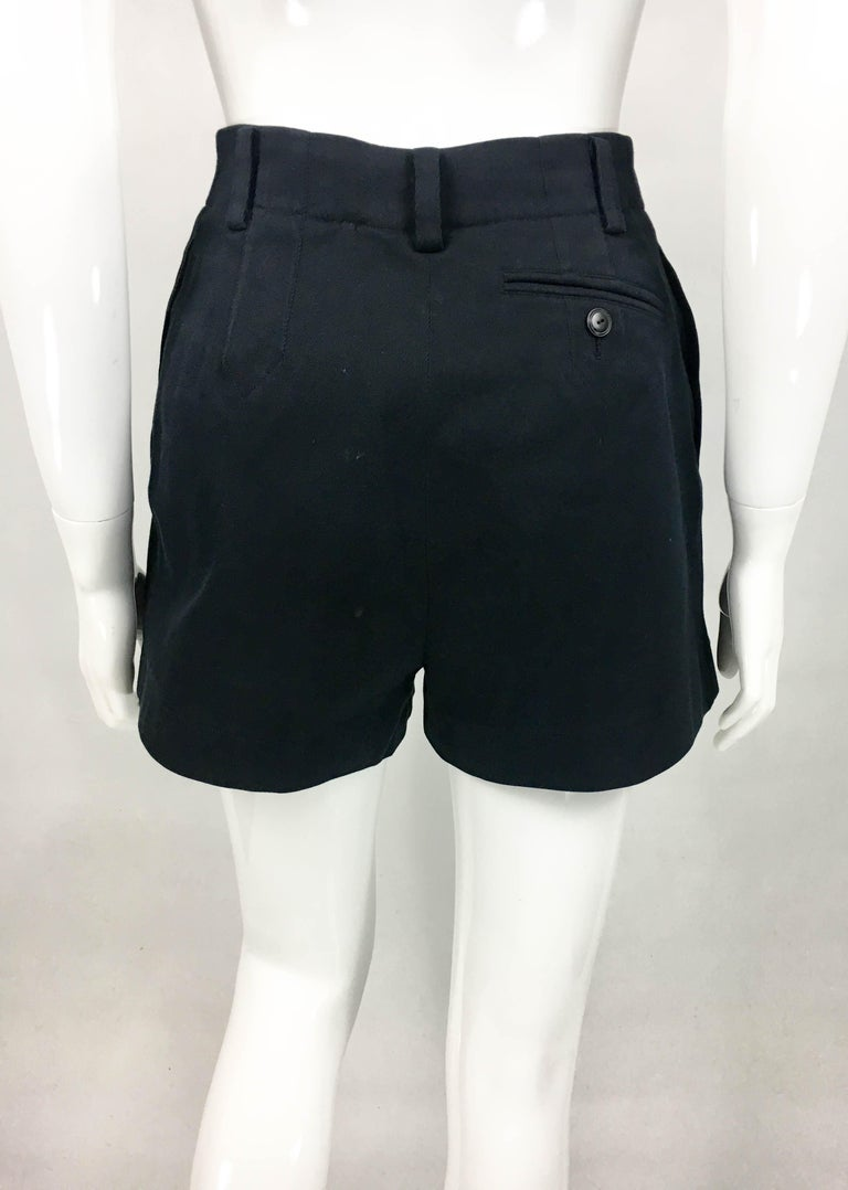 1990's Azzedine Alaia Black Tailored Shorts For Sale 7