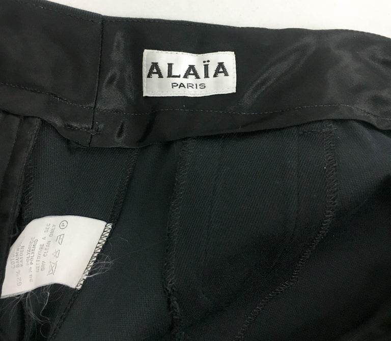 1990's Azzedine Alaia Black Tailored Shorts For Sale 8