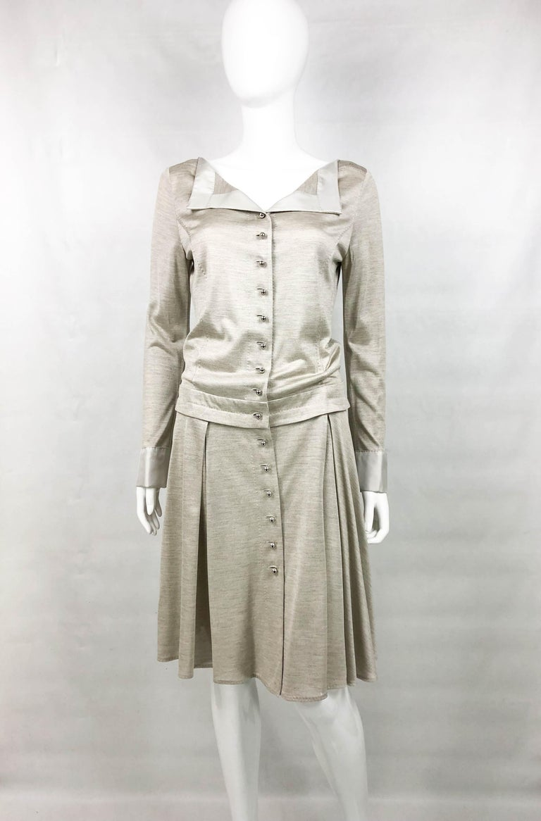 Louis Vuitton Gray Silk Jersey Shirt Dress In Excellent Condition For Sale In London, Chelsea