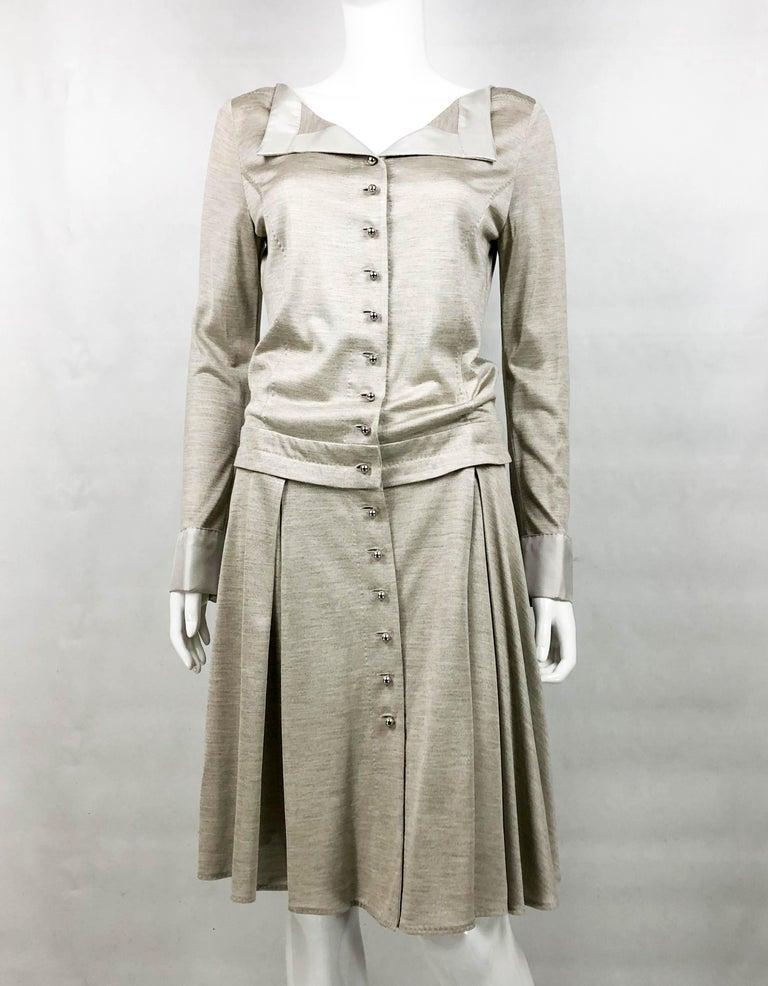 Women's Louis Vuitton Gray Silk Jersey Shirt Dress For Sale