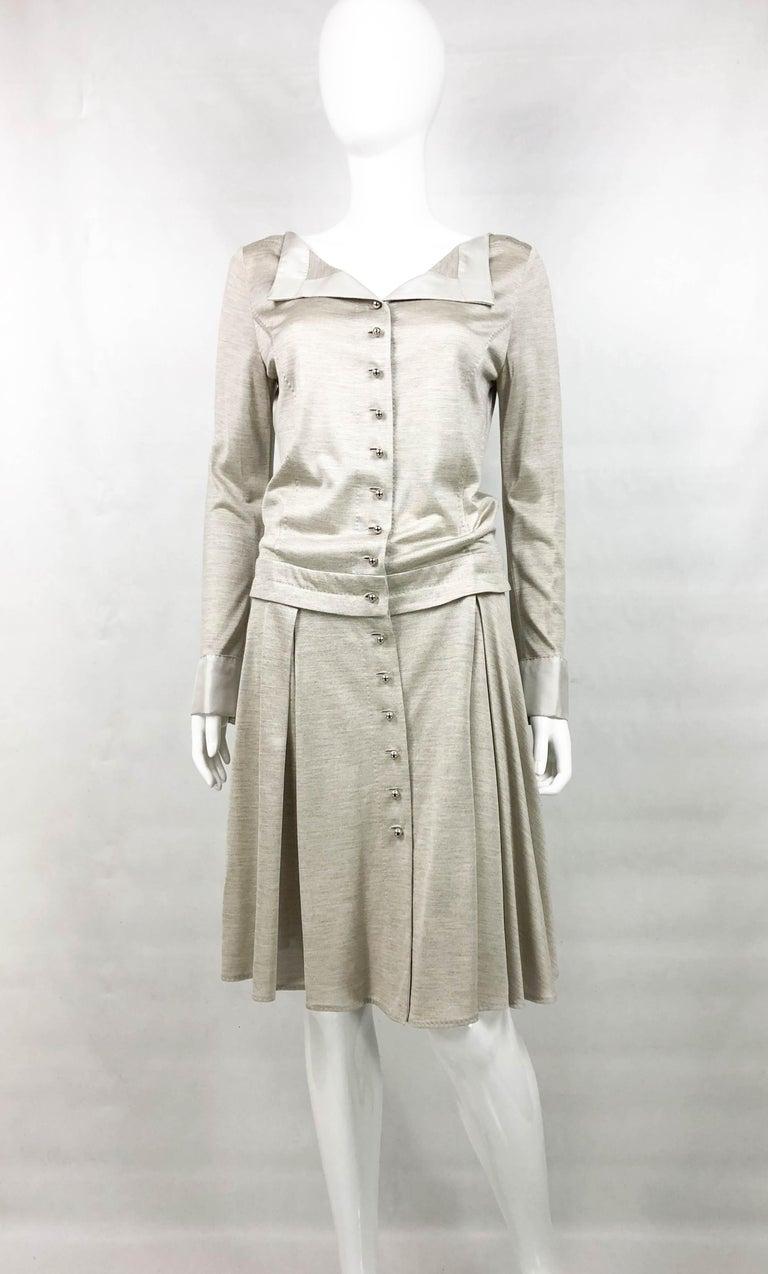 Louis Vuitton Gray Silk Jersey Shirt Dress For Sale 1