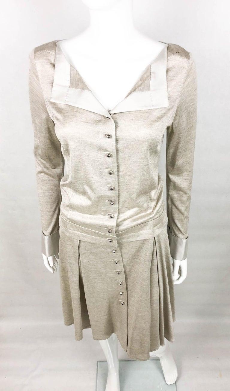 Louis Vuitton Gray Silk Jersey Shirt Dress For Sale 2