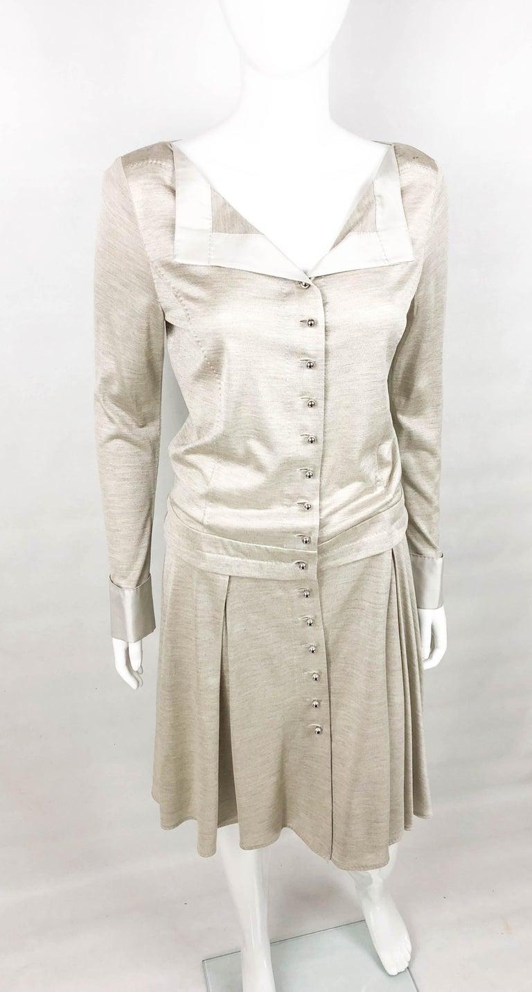 Louis Vuitton Gray Silk Jersey Shirt Dress For Sale 3