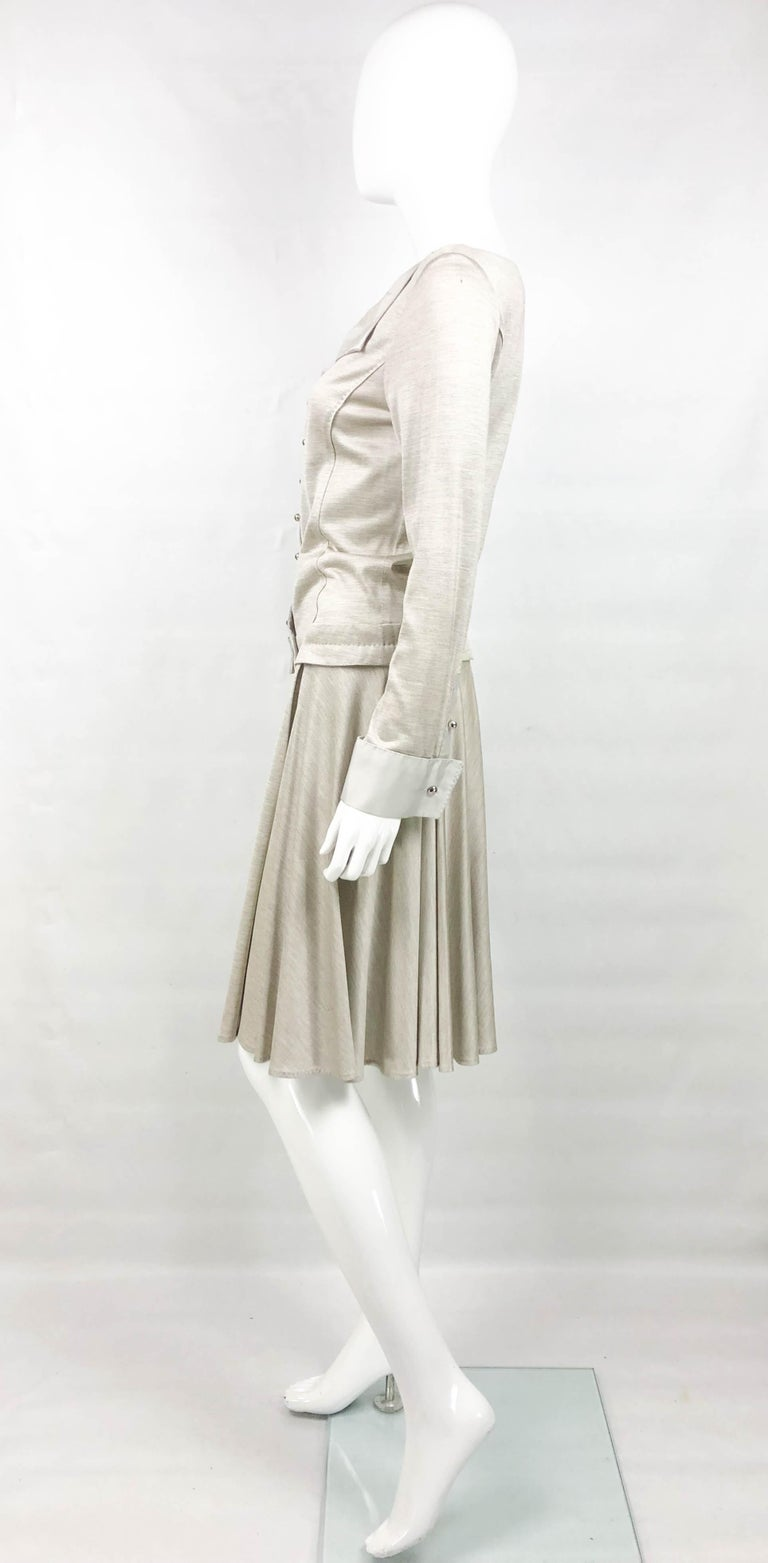 Louis Vuitton Gray Silk Jersey Shirt Dress For Sale 4