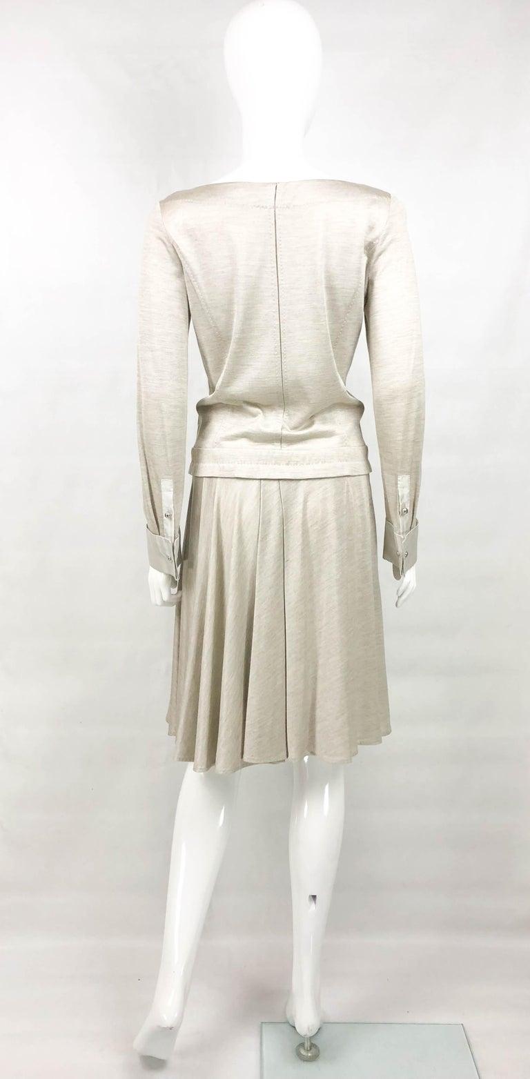 Louis Vuitton Gray Silk Jersey Shirt Dress For Sale 5