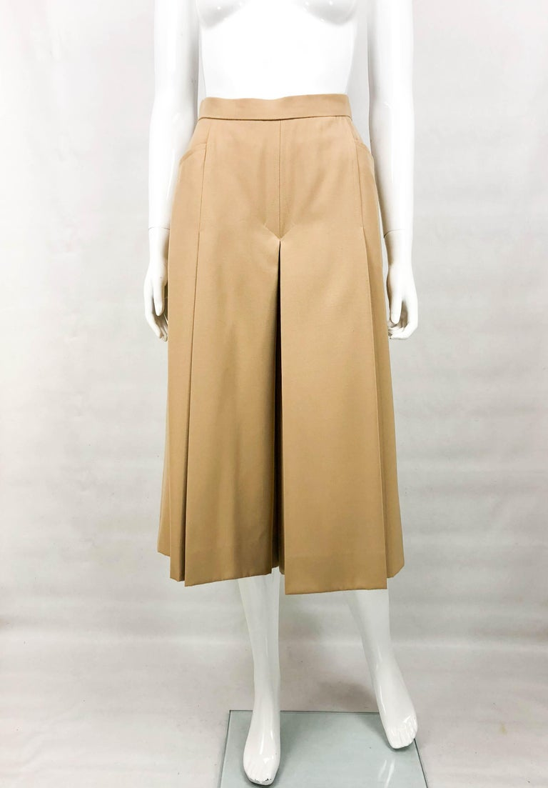 1970's Hermes Beige Wool Culottes  In Excellent Condition For Sale In London, Chelsea