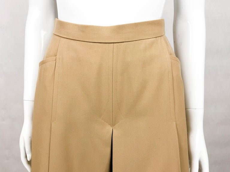 1970's Hermes Beige Wool Culottes  For Sale 2