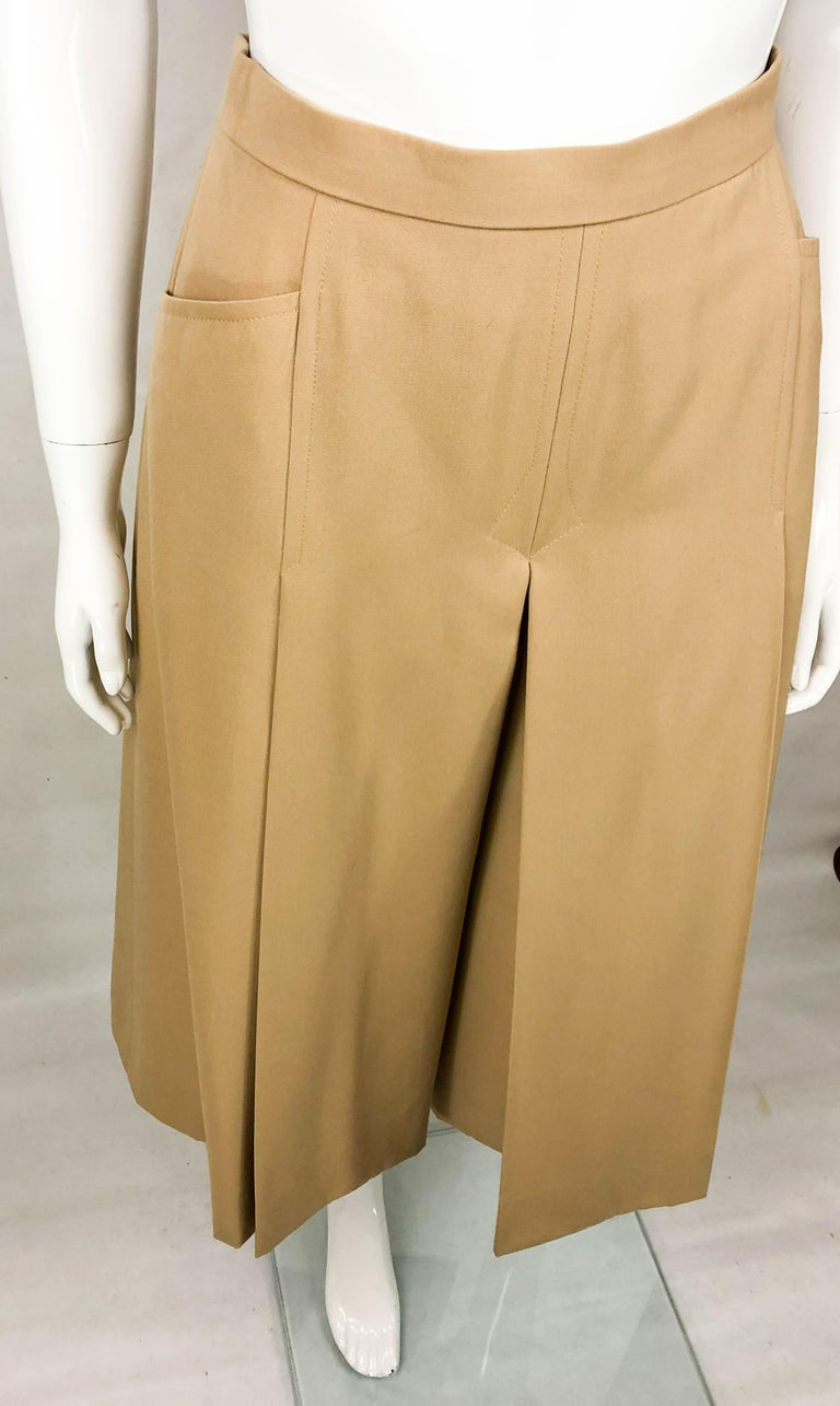 1970's Hermes Beige Wool Culottes  For Sale 3
