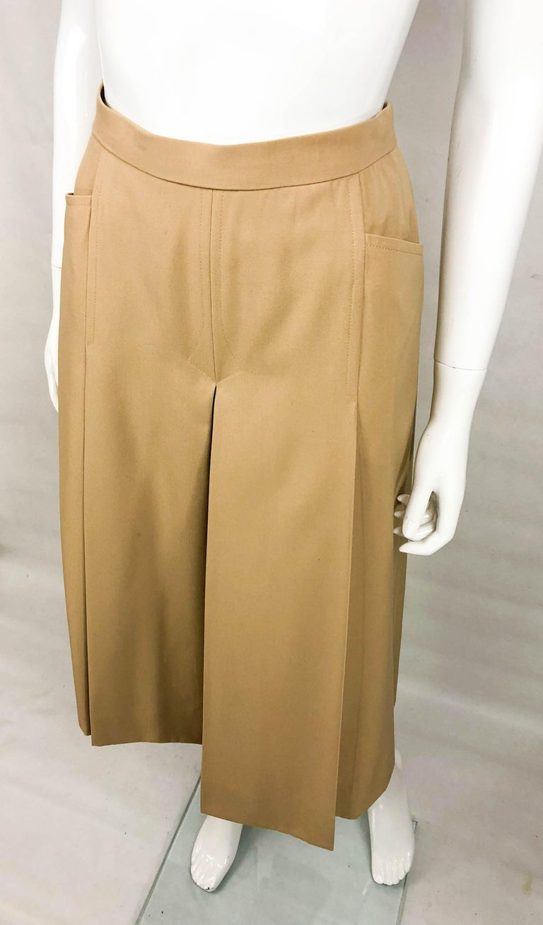 1970's Hermes Beige Wool Culottes  For Sale 4