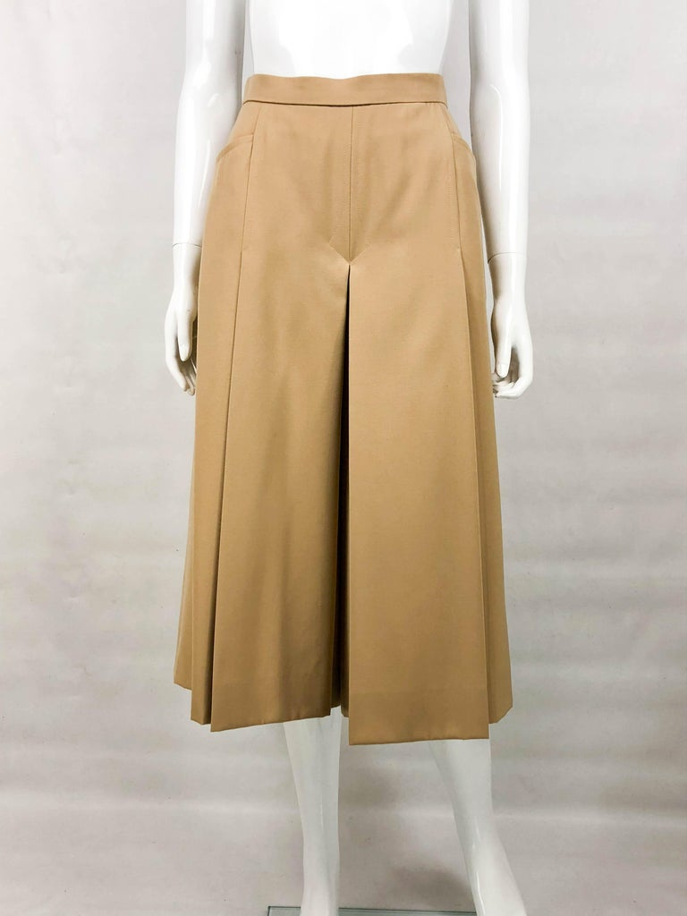 1970's Hermes Beige Wool Culottes  For Sale 1