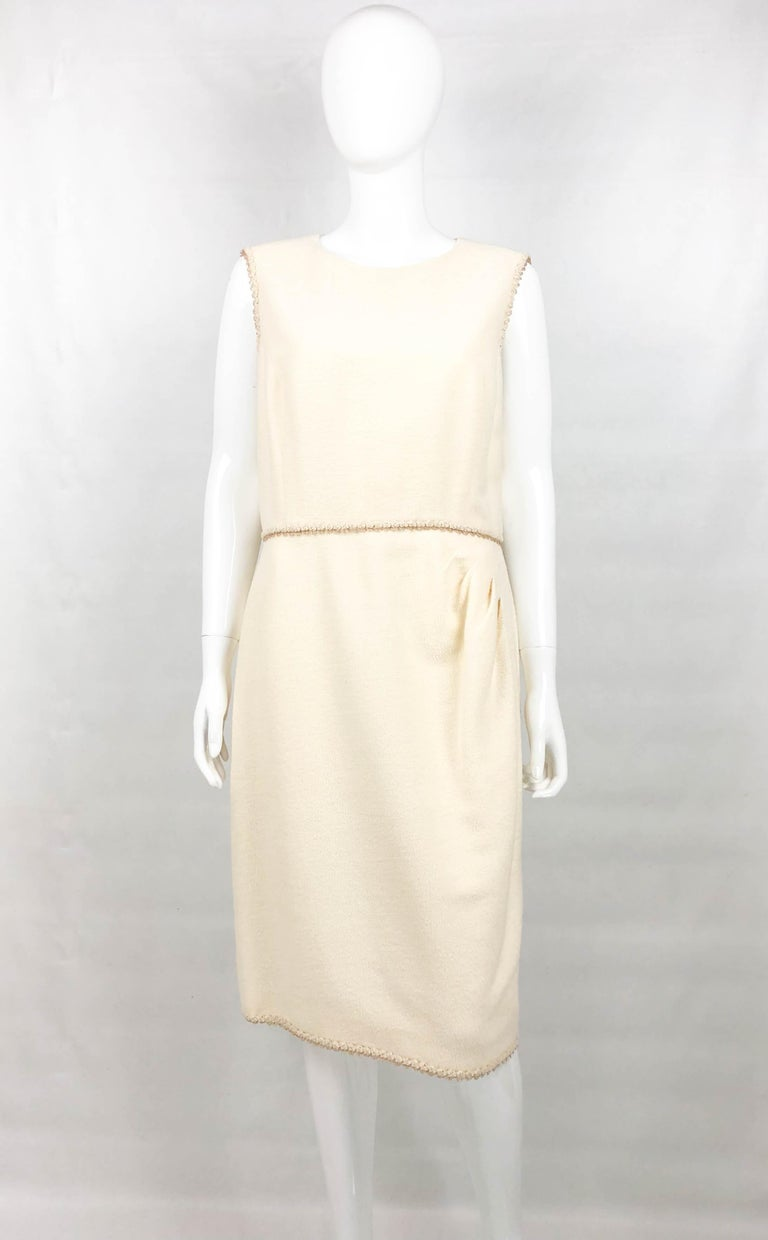 2010 Unworn Chanel Runway Look Cream Dress With Gold Thread Trim In New Condition For Sale In London, Chelsea