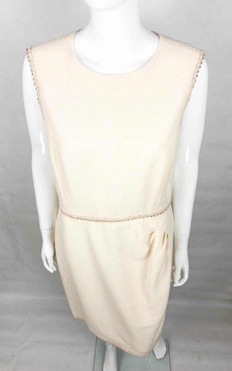 Women's 2010 Unworn Chanel Runway Look Cream Dress With Gold Thread Trim For Sale