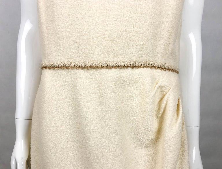 2010 Unworn Chanel Runway Look Cream Dress With Gold Thread Trim For Sale 5