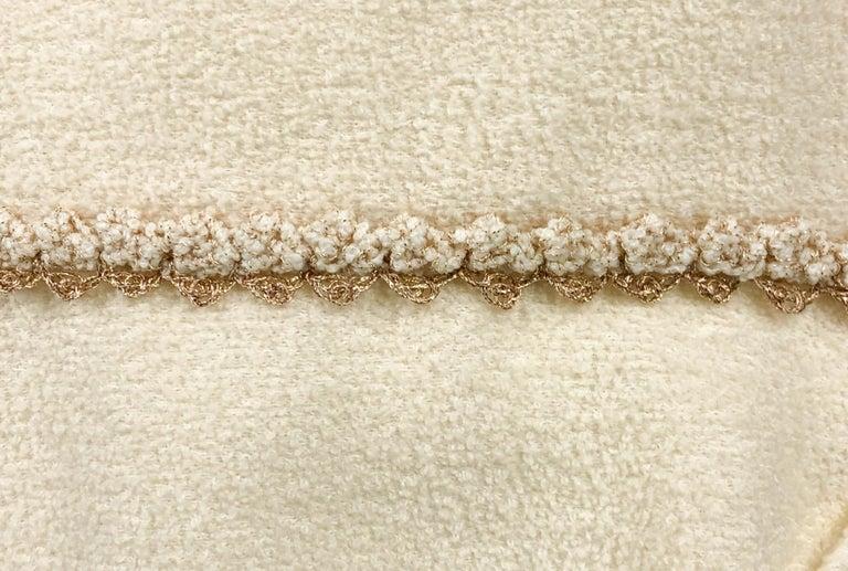 2010 Unworn Chanel Runway Look Cream Dress With Gold Thread Trim For Sale 7