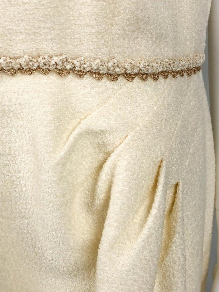 2010 Unworn Chanel Runway Look Cream Dress With Gold Thread Trim For Sale 6