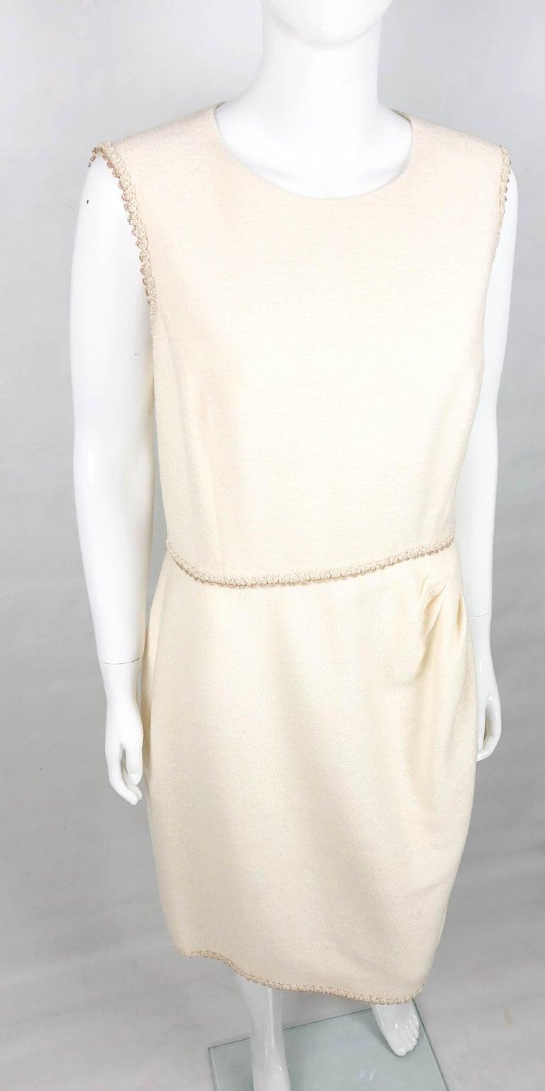 2010 Unworn Chanel Runway Look Cream Dress With Gold Thread Trim For Sale 1