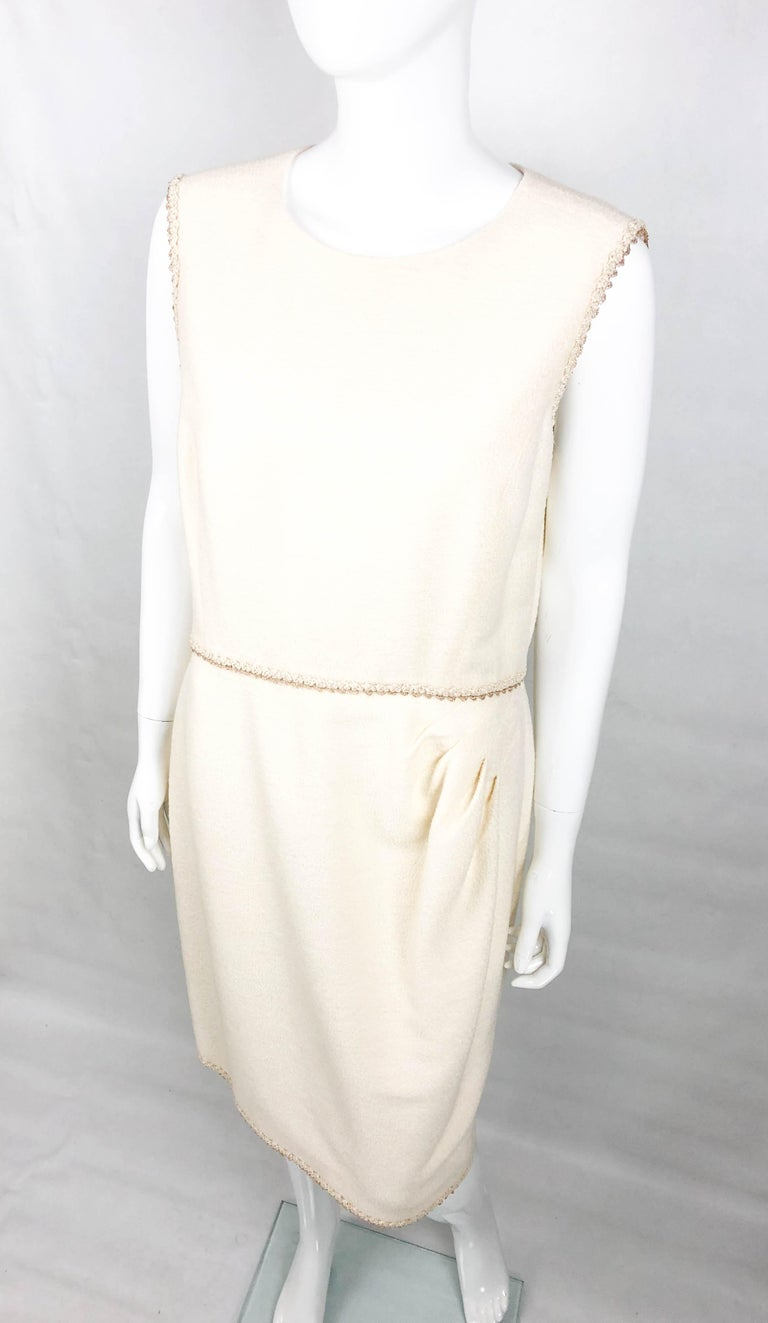 2010 Unworn Chanel Runway Look Cream Dress With Gold Thread Trim For Sale 2