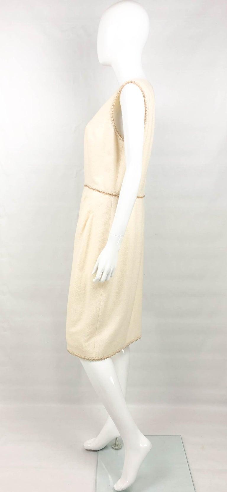 2010 Unworn Chanel Runway Look Cream Dress With Gold Thread Trim For Sale 3