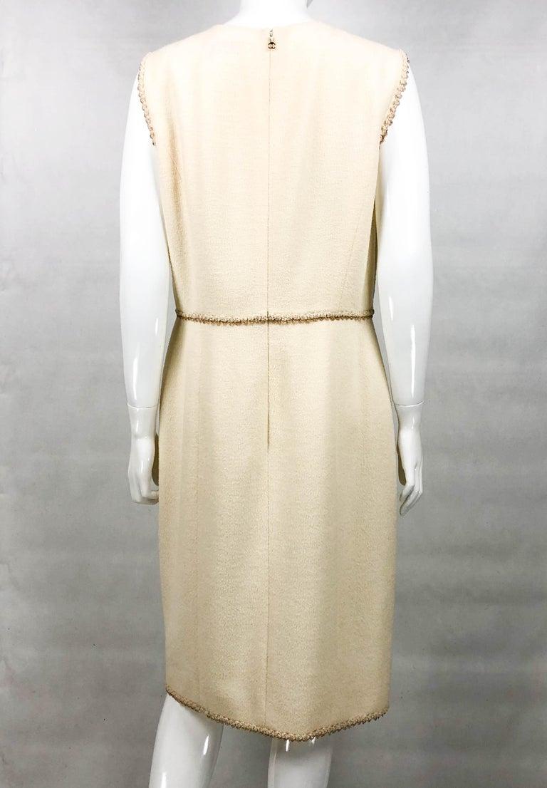 2010 Unworn Chanel Runway Look Cream Dress With Gold Thread Trim For Sale 4