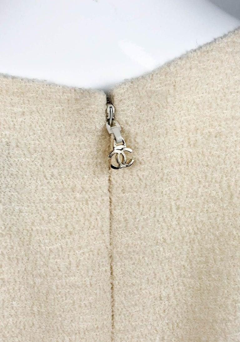 2010 Unworn Chanel Runway Look Cream Dress With Gold Thread Trim For Sale 8