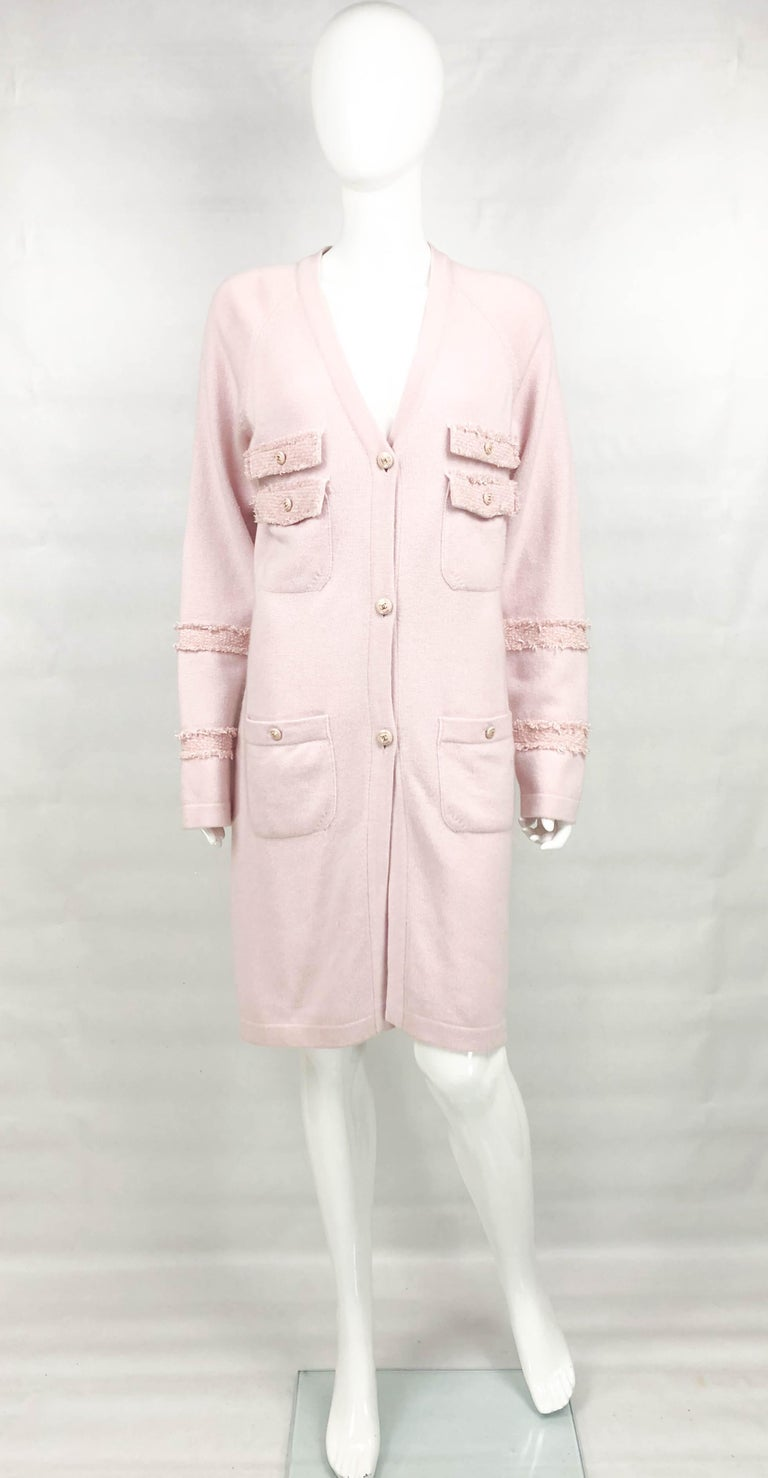 Beige 2009 Chanel Pink Cashmere Cardigan Dress With Enamelled Logo Buttons For Sale