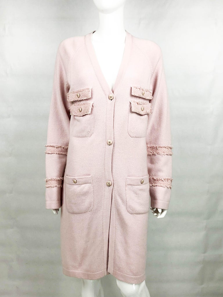 Women's 2009 Chanel Pink Cashmere Cardigan Dress With Enamelled Logo Buttons For Sale