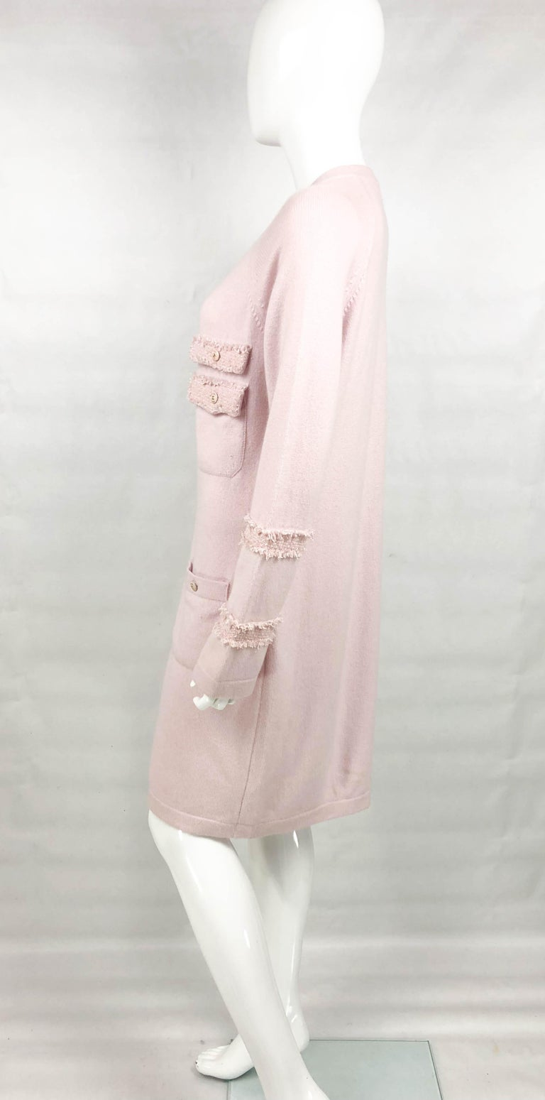 2009 Chanel Pink Cashmere Cardigan Dress With Enamelled Logo Buttons For Sale 4