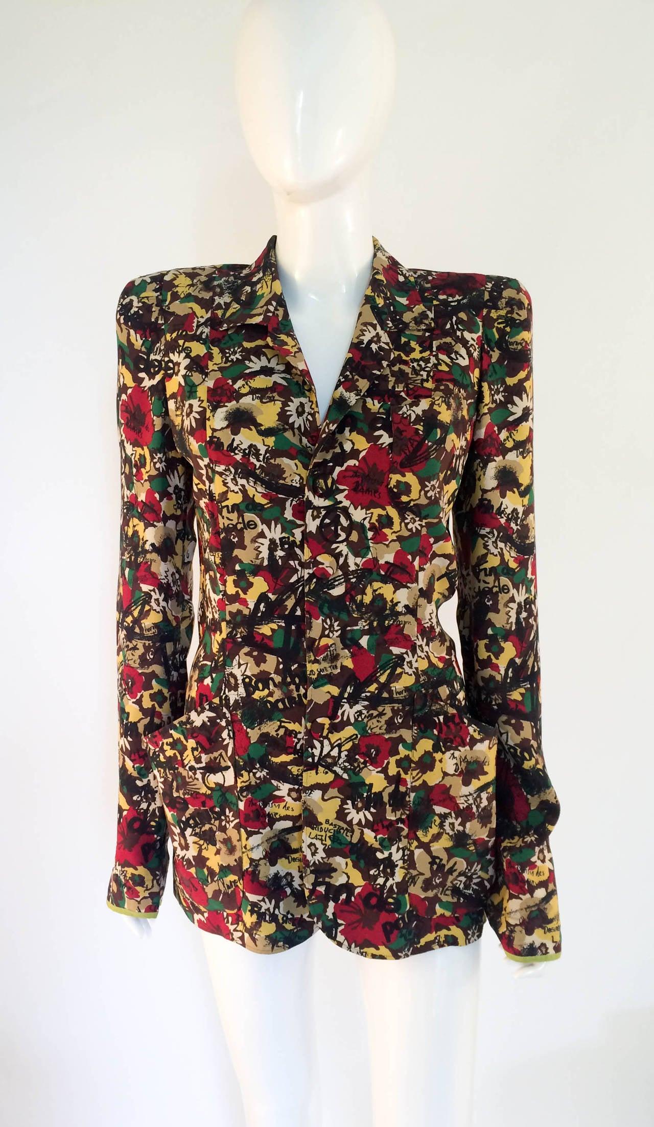 jean paul gaultier printed jacket 1985 at 1stdibs. Black Bedroom Furniture Sets. Home Design Ideas