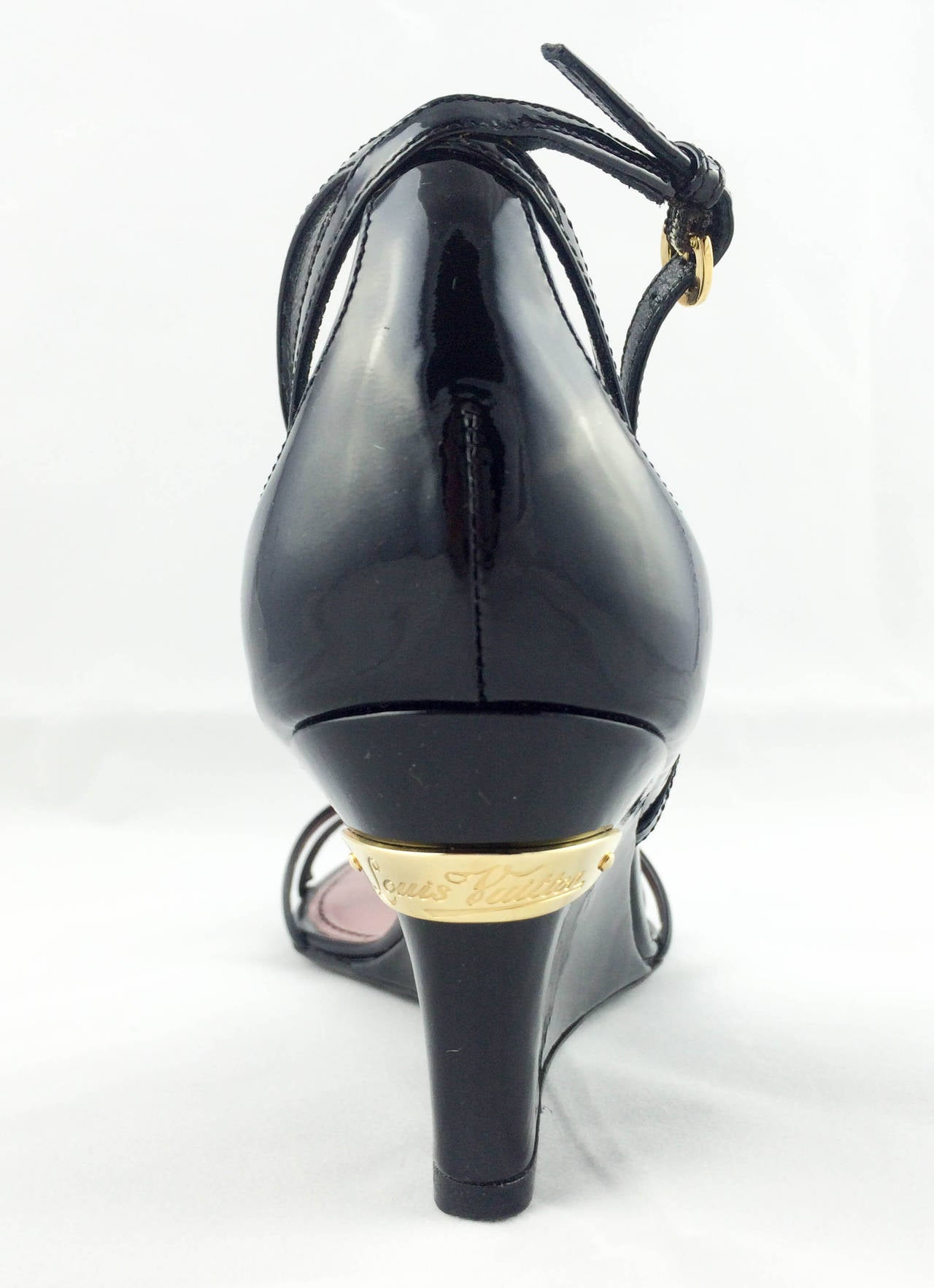 Black Louis Vuitton Strawberry Wedges Sandals - 2009 For Sale