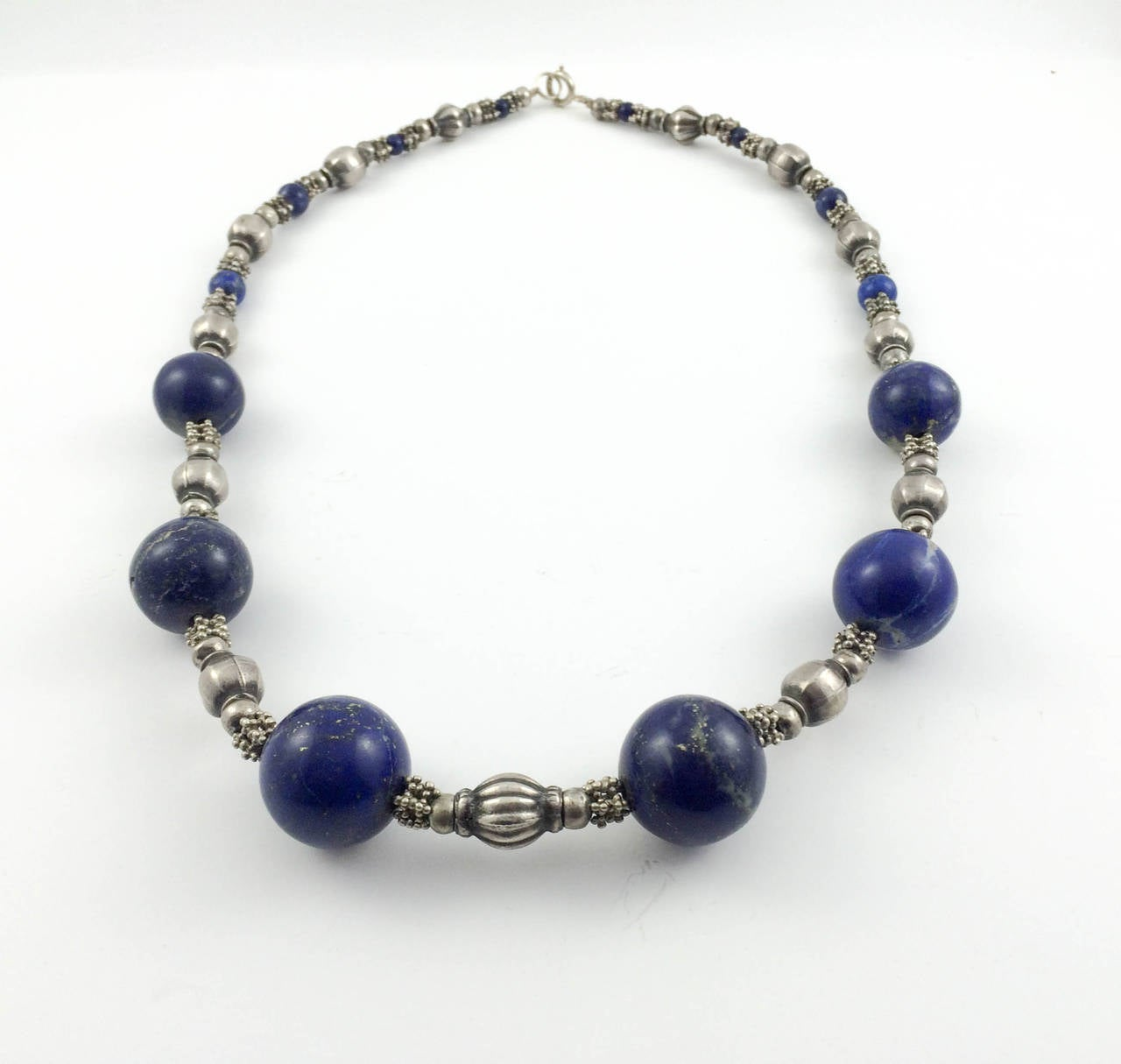 Women's Silver and Lapis Lazuli Necklace - 1970s For Sale