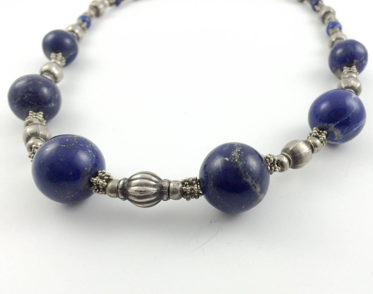 Silver and Lapis Lazuli Necklace - 1970s For Sale 1