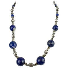 Silver and Lapis Lazuli Necklace - 1970s