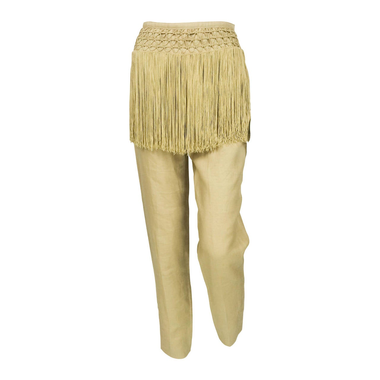 Valentino Fringed Linen Pants - 1990s 1