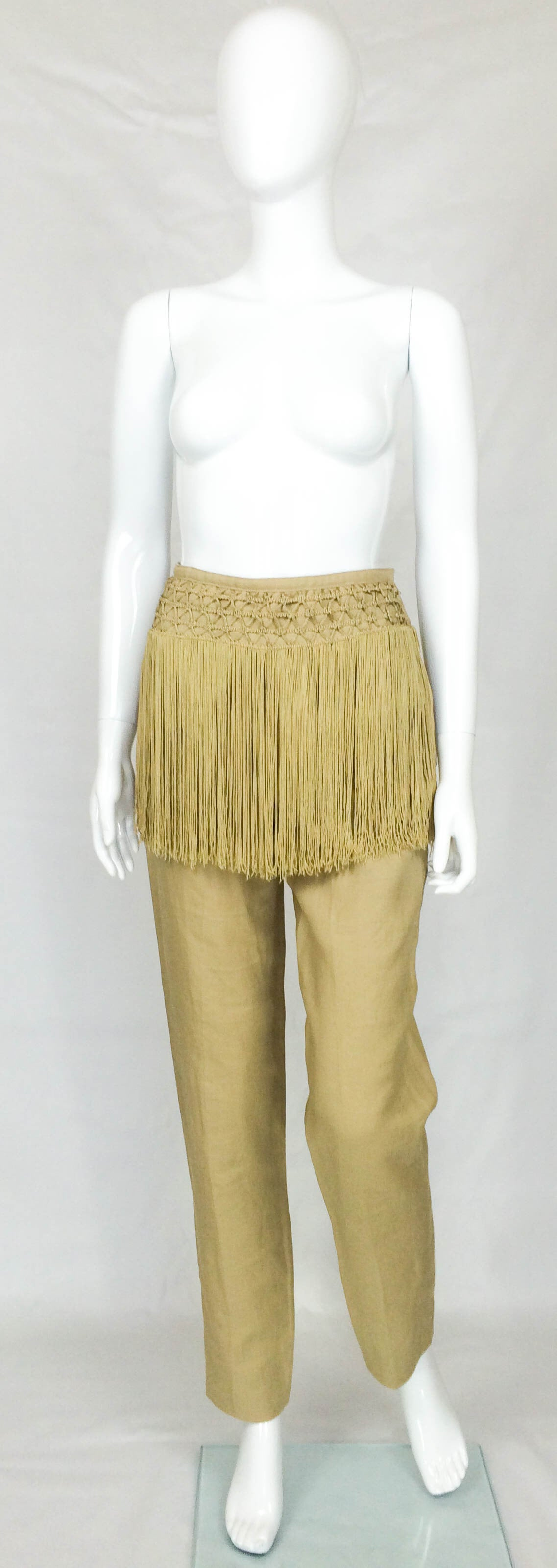 Valentino Fringed Linen Pants - 1990s 2