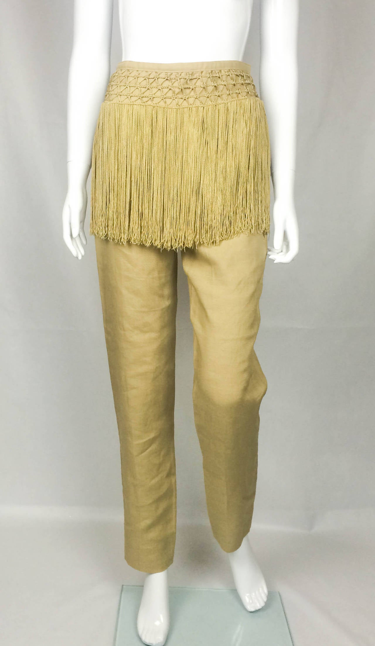 Valentino Fringed Linen Pants - 1990s 10
