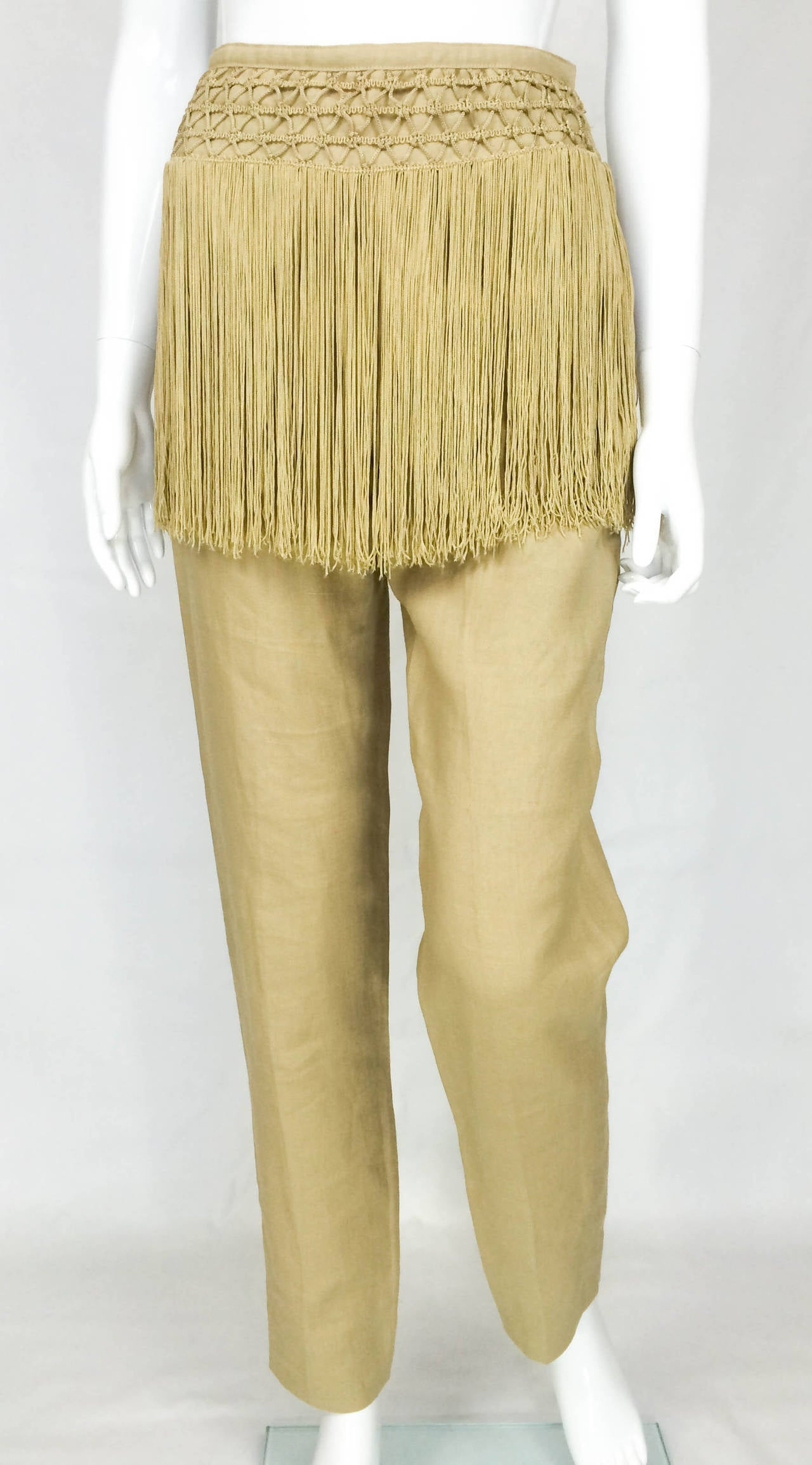 Valentino Fringed Linen Pants - 1990s 3