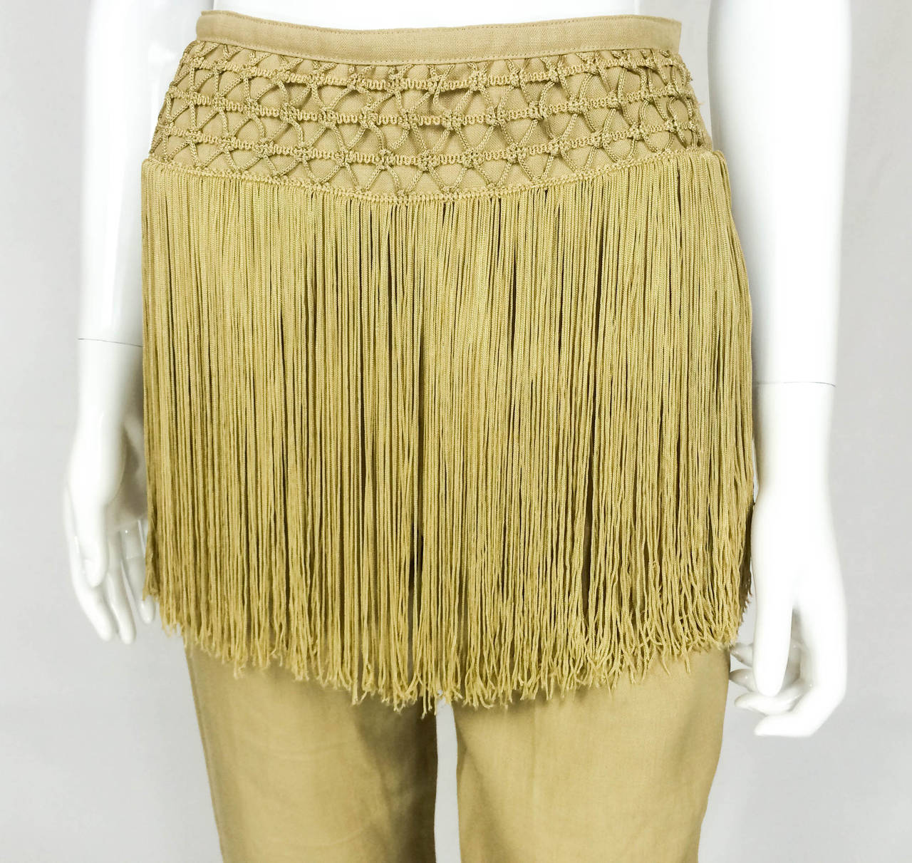 Valentino Fringed Linen Pants - 1990s 4