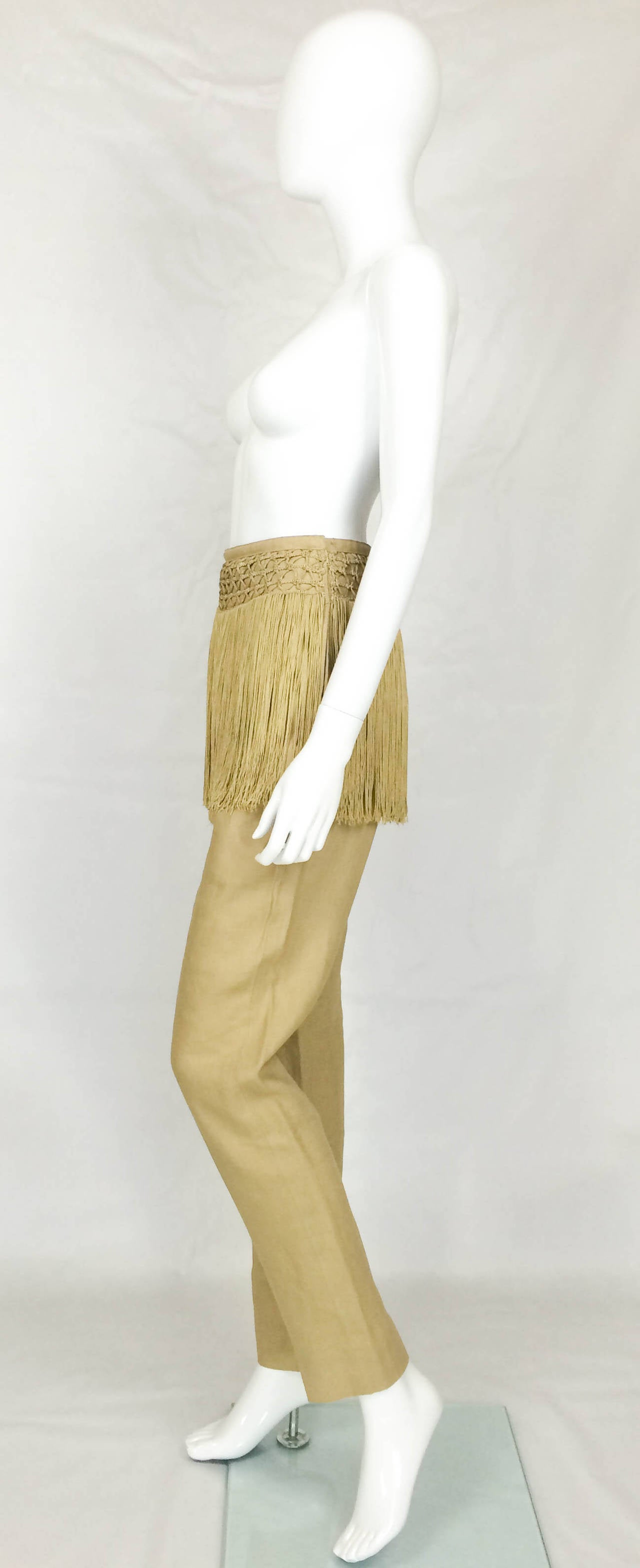 Valentino Fringed Linen Pants - 1990s 7