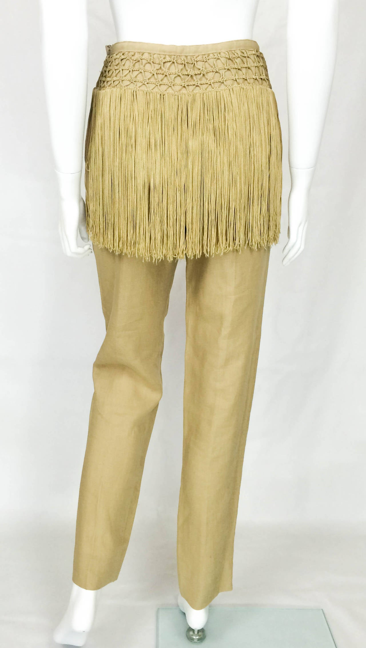 Valentino Fringed Linen Pants - 1990s 8