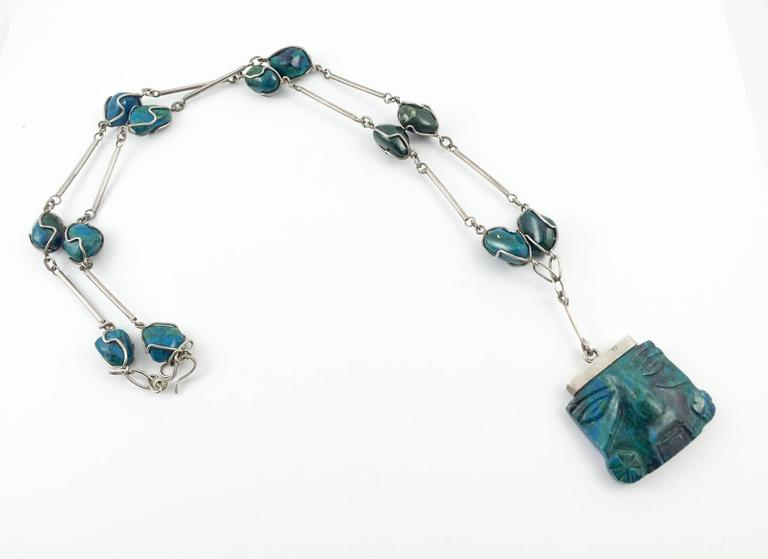 Silver and Peruvian Turquoise Necklace - 1970s 4