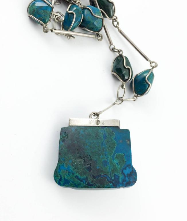 Silver and Peruvian Turquoise Necklace - 1970s 6