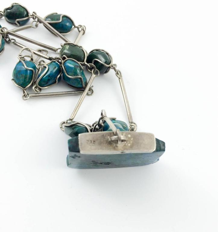 Silver and Peruvian Turquoise Necklace - 1970s 7